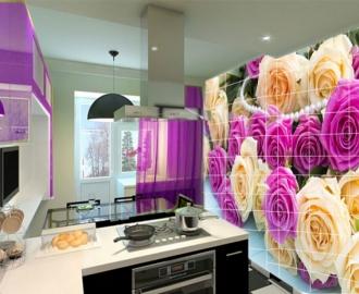 """Плитка с рисунком на стену для кухни """"Розы белые и розовые, жемчуг"""""""