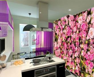 "Плитка с рисунком на стену для кухни ""Розовые розочки"""