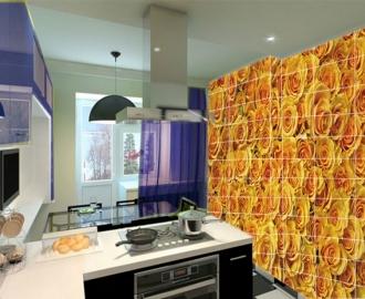 Плитка с рисунком на стену для кухни ЖЕЛТЫЕ РОЗЫ