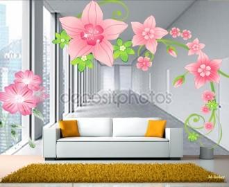 """Фотообои на стену купить """"Коридор, розовые цветы"""""""