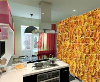 """Плитка с рисунком на стену для кухни """"Желтые розы"""""""