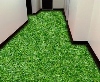 """Обои для пола в комнату """"Густая трава"""" купить визуализация №3"""