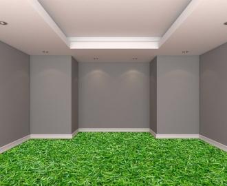 """Обои для пола в комнату """"Густая трава"""" купить визуализация №2"""