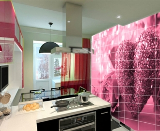 """Плитка с рисунком на стену для кухни """"Розовый фон, сердце"""""""