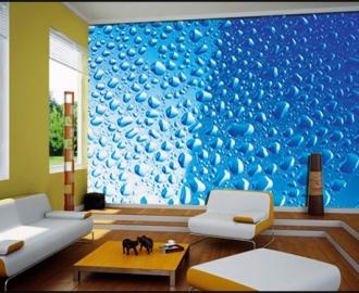 """Фотообои на стену купить """"Капли воды на голубом фоне"""" визуализация №2"""