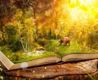 """Фотообои на стену купить """"Сказочная, медведь, книга"""""""