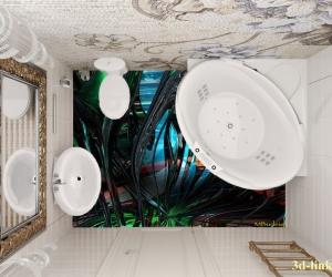 """3D обои для пола Фото Цена """"Абстракция стекло"""" вариант  №5"""
