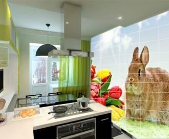 Плитка с рисунком на стену для кухни вариант №6