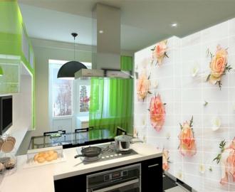 Плитка с рисунком на стену для кухни БЕЛЫЙ ФОН РОЗОЧКИ