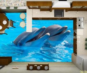 """3D обои для пола Фото Цена """"Два Дельфина"""" вариант№6"""