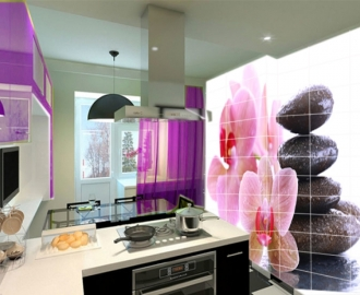 "Плитка с рисунком на стену для кухни ""Розовые орхидеи,камни"""
