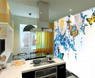 "Плитка с рисунком на стену для кухни ""Бабочки, цветочки"""
