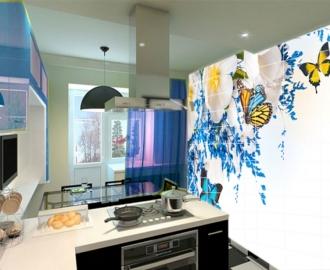 Плитка с рисунком на стену для кухни БАБОЧКИ ЦВЕТОЧКИ