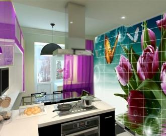 """Плитка с рисунком на стену для кухни """"Тюльпаны, бабочки"""""""