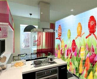 """Плитка с рисунком на стену для кухни """"Тюльпаны, пасхальные яички"""""""