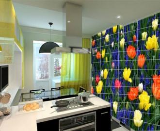 Плитка с рисунком на стену для кухни ПОЛЕВЫЕ ЦВЕТОЧКИ