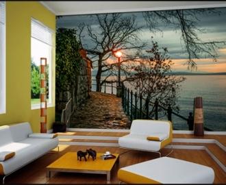"""Фотообои на стену купить """"Восход, дорожка по берегу, вода"""" визуализация №2"""