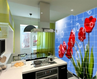 Плитка с рисунком на стену для кухни ТЮЛЬПАНЫ НЕБО