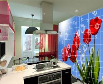 """Плитка с рисунком на стену для кухни """"Тюльпаны, небо"""""""