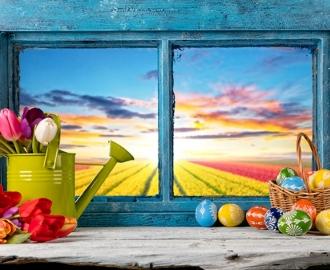 """Плитка с рисунком на стену для кухни """"Окно, пасхальные яички"""""""
