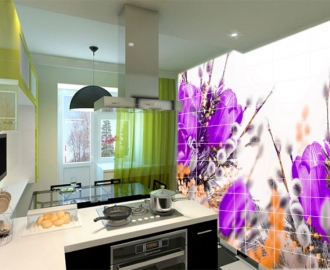 Плитка с рисунком на стену для кухни вариант №7
