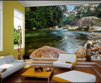 """Фотообои на стену купить """"Прозрачная вода, лес"""" визуализация №2"""