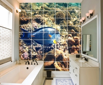 """Плитка с изображением """"Морское дно, рифы, рыбка"""". Фотопечать на плитке."""