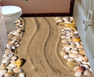 """Линолеум  """"Песок, ракушки, желтая морская звезда"""". Напольное покрытие купить."""