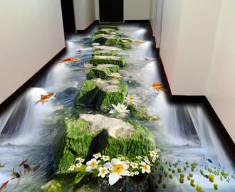 """Линолеум красивый """"Камни, пруд, рыбки, цветы"""" купить"""
