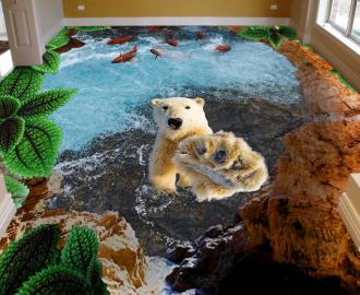 """Наклейка на пол """"Пропасть, вода, рыбки, белый медведь"""". Половые наклейки, печать для наливного пола"""