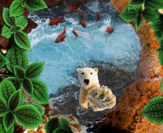 """Линолеум красивый """"Пропасть, вода, рыбки, белый медведь"""" купить"""