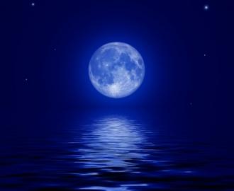 """Фотообои на стену купить """"Луна, вода, ночь"""""""
