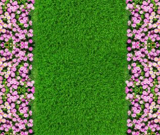 """Линолеум с рисунком """"Зеленый газон, розовые цветы"""" Напольное покрытие купить."""