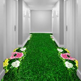 """Линолеум с рисунком """"Газон зеленый, цветы"""" Напольное покрытие купить."""