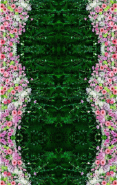 """Линолеум с рисунком """"Ковер зеленый, цветы розовые"""" Напольное покрытие купить."""