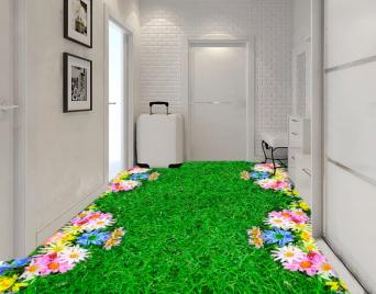 """Линолеум с рисунком """"Зеленая трава, газон, цветы"""" Напольное покрытие купить."""
