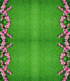 """Линолеум с рисунком """"Розовые розы на зеленом ковре"""" Напольное покрытие купить."""