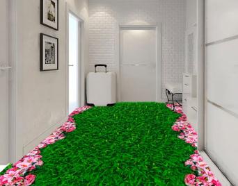 """Линолеум с рисунком """"Зеленая трава, газон, розовые цветочки"""" Напольное покрытие купить."""