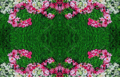 """Линолеум с рисунком """"Зеленая трава, ковер, розовые и белые цветы"""" Напольное покрытие купить."""