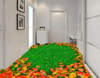 """Линолеум с рисунком """"Зеленый газон, оранжевые гвоздики"""" Напольное покрытие купить."""