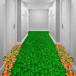 """Линолеум с рисунком """"Зеленый газон, оранжевые ноготки"""" Напольное покрытие купить."""