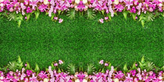 """Линолеум с рисунком """"Газон, розы, папоротник"""" Напольное покрытие купить."""