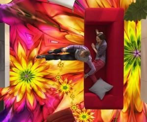 """3D обои для пола Фото Цена """"Абстракция цветы"""" вариант№5"""