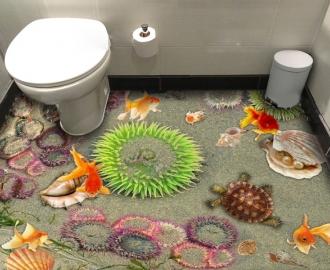 """Линолеум с рисунком """"Медузы, песок, рыбки, черепаха"""" купить"""