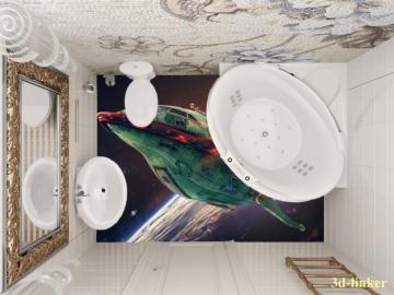 """Линолеум с рисунком """"Космический корабль"""" купить"""