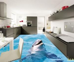 """3D обои для пола Фото Цена """"Дельфин"""""""