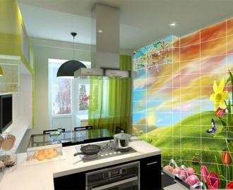 Плитка с рисунком на стену для кухни вариант №9