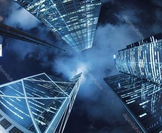 """Линолеум с рисунком """"Ночь, небоскребы, небо"""" купить"""