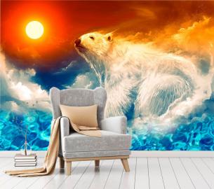 """Фотообои на стену животные """"Полярный медведь, небо, солнце"""""""