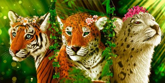 "Фотообои на стену животные ""Три грации, тигрица, леопард, белый"""